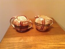 Hard to find Blue Ridge pottery brown green plaid sugar and creamer