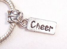 Cheer Tag Cheerleader Sports Word Dangle Bead for Silver European Charm Bracelet