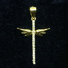14k Gold Filled Fire Diamond Angel Wing Cross Pendant Woman Gift Solid Silver 81