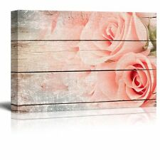 Pink Roses in a Bouquet - Rustic Floral Arrangements - Canvas Art - 24x36 inches