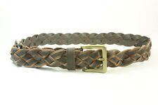 LAID BACK LADIES DOUBLE BROWN STRIPE DISTRESSED LEATHER CRISS-CROSS BELT(SC28)