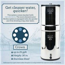 Berkey CRN8x2-BB Crown Water Filter with 2 Black Elements Purifying Filters