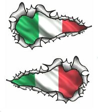 LONG Handed Pair Ripped Open Torn Metal Italy Italian Flag vinyl car sticker