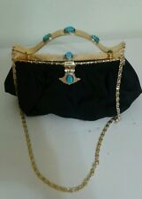 Vintage Hand Made In Egypt Black with turquoise stones Evening Purse/Handbag
