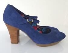 *NEW* Clarks Softwear Liberty Art Blue Suede Mary Jane Heels 7.5 UK