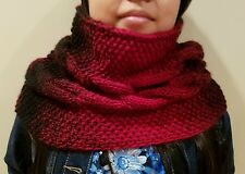 hand-knitted cowl infinity scarf with lion brand Scarfie yarns(cranberry/black)