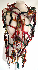 STUNNING ZUZA BART long  applique 100% WOOL   WRAP/SCARF/STOLE multi colours