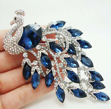 Vintage Luxurious Peacock Bird Blue Austrian Crystal silver-plating Brooch Pin