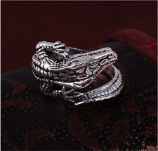 Men's Stainless Steel Silver Fashion Gothic lizard Male Finger Ring Size-9