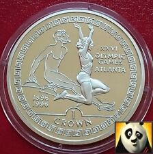 1995 GIBRALTAR 1 One Crown Olympic Games Atlanta Long Jumper Silver Proof Coin