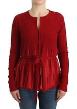 NWT $500 CLASS ROBERTO CAVALLI Red Wool Cardigan Lightweight Sweater IT46/US12