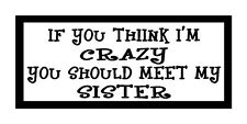 If You Think I'm Crazy You Should Meet My Sister Magnet for Fridge or Car New!!