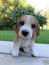 """BEAGLE PUPPY DOG FIGURINE STATUE RESIN PET 6"""" H CANINE BROWN WHITE ORNAMENT NEW"""