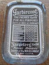 Rare Vtg Glass Paperweight Perpetual Calender GARBIRCORD Cloth Advertisement VGC