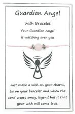 2 x Wish String Bracelet or Anklet - Guardian Angel - Rose Quartz Gemstone W023