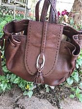 BRIGHTON BROWN LEATHER SHOULDER BAG BACKPACK MULTI COMPARTMENT ORGANIZER PURSE *