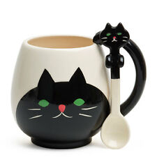 DECOLE Japan Ceramic Kawaii Black Cat Tea Coffee Mug Cup with Spoon Gift Box Set