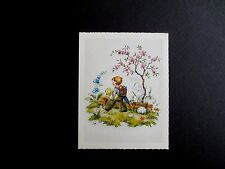 Unused Made in Germany Glitter Easter Greeting Card Boy Walking Home with Chick