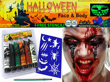 Blood +Glow In The Dark + Halloween Face Paints + Stencil ( Introductory Offer)