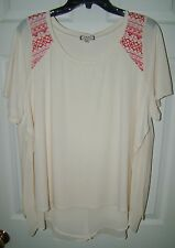 WOMENS SIZE 1X EYESHADOW SHORT SLEEVE LAYER LOOK SUMMER TOP / BLOUSE NWT