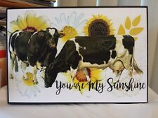 Vintage Wooden Sign You Are My Sunshine Cows Sunflowers Country Farm