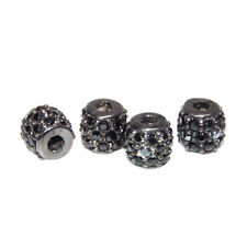 Gemstone Black Spinel Pave Sterling Silver Bead Spacer Jewelry Finding 2Pc. LOT