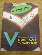 21/03/1982 Rugby League Programme: Fulham v St Helens [At Craven Cottage] (Folde