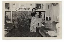 Vintage Photo Beautiful Young Woman, Small Christmas Tree, Living Room, 50's Mar