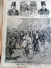NOCE A BICYCLETTE MARIAGE 1897 SC 2618 ILLUSTRATION ANCIENNE