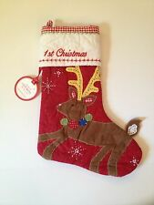 Pottery Barn Baby My First 1st Christmas Stocking Quilted Reindeer Rudolph