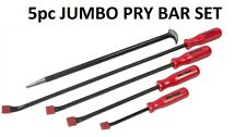5pc Hi-Visibility Jumbo Pry Bar Set Rolling Bar Crow Lever Drop Forget Heat I931