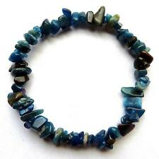 **BEAUTIFUL BLUE APATITE CRYSTAL CHIP BRACELET - A - HEALING / REIKI**