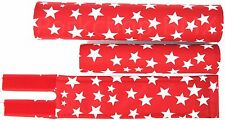 FLITE old school BMX bicycle padset foam racing pads STARS - RED & WHITE