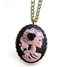 PINK LADY Rosa Negra Calavera Gema Cameo Collar Gótico De Cameo Esqueleto