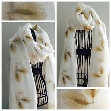 Ladies Gold Embroidered Leaf Scarf Pashmina Shawl White Luxurious New Soft Gift