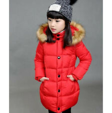 2016 Hot Girls Winter Jackets Kids Fur Hooded Warm Coat Thick Parka 5 Size