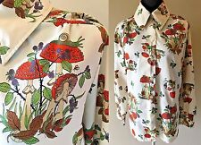 Vintage 1970s Mushroom Toadstool Snail Print Polyester Blouse size M or L S8