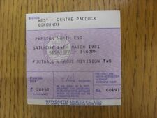14/03/1981 Ticket: Newcastle United v Preston North End  (light fold). Footy Pro