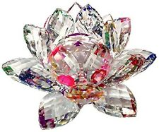 Lotus Flower Crystal Figurine Feng Shi Home Decoration Good Luck Asian New Age