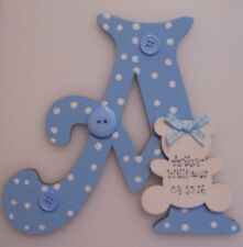 NEW BABY BOY Personalised Wooden Letter Initial **ANY Letter ** (blue)