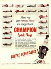 1946 Champion Plugs 18 Personal Planes Pictured-Piper Beechcraft Etc. PRINT AD