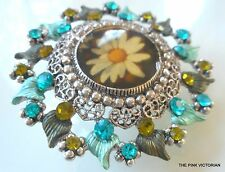 SHASTA DAISY flower FASHION circle WREATH pin BROOCH rhinestone ACCENTS PN632