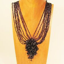 "18"" Black Stone Chip Cluster Handmade Seed Bead Necklace FREE SHIPPING!"