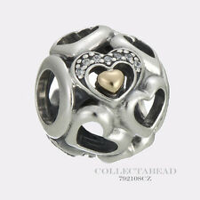 Authentic Pandora Silver & 14K Gold Heart of Romance Bead 792108CZ