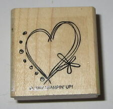 Heart Love Rubber Stamp Stampin' Up! Flower Dots Wood Mounted Valentine's Day
