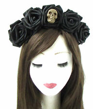Large Black Sugar Skull Rose Flower Hair Crown Headband Halloween Goth Vtg 468