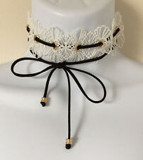 White Floral Lace with Black Faux Suede Cord Wrap Tie Choker Necklace