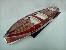 """Chris Craft Triple Cockpit 24"""" Wooden Speed Boat L60 High Quality Boat CreamSeat"""