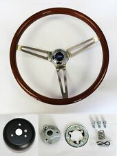 "84-89 Ford Mustang Wood Steering Wheel High Gloss 15"" Ford Center cap"