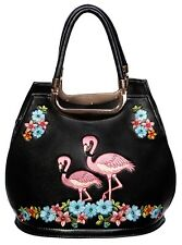 Banned Elegant Flamingo Handbag faux leather shoulder rockabilly vintage BLACK